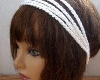 BoHo Crochet Hairband, Bohemian Band, WHITE Dread Wrap, Hair Accessory, Women n Teens, Hippie Hair Band, Hair Tie, Crochet Headband  BH4