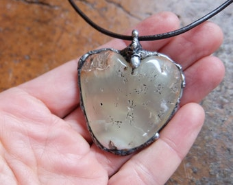 Rustic Prehnite necklace - heart jewelry -  organic, earthy, naturally sourced Prehnite from Australia - natural stone jewellery