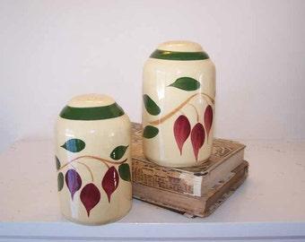 Watt Pottery, Salt Pepper Shakers, Red Bud, Tear Drop, Barrel Shaker,