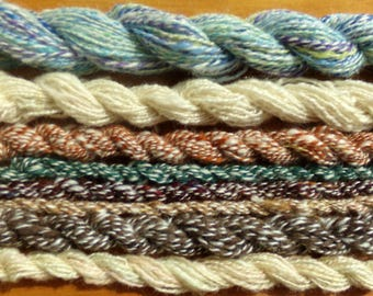 Hand Spun Lace Weight Minis Suri Alpaca Kid Mohair and Wool 162 total yards