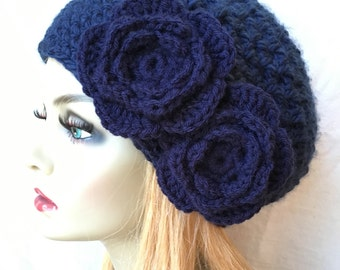 Crochet Womens Hat, Slouchy Beret, Dark Blue, Navy or Pick Your Color, Rose Flower, Chunky, Teens, Birthday Gifts, Gifts for Her JE610SBTF8