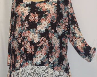 Women's Plus Size Top, Coco and Juan, Lagenlook Plus Size, Black Roses Lace Boarder Top, Plus Size Tunic Top, One Size Bust  to 60 inches