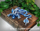 Ooak Polymer Clay Blue Sad Little Dragon on Old World Style National Geographic Book / Box #756 Fantasy Home Decor Storage