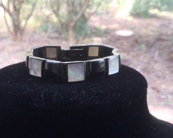 Vintage Thai Sterling FAS Mother of Pearl and Onyx Art Deco Bracelet