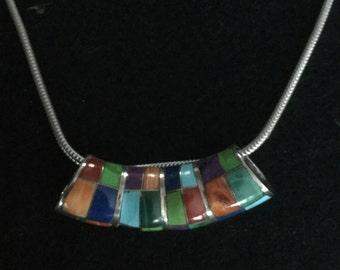 Vintage NG Sterling Silver Enamel Slide Necklace