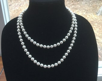 Vintage Long Glass Pearl Necklace Bridal wedding