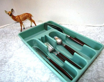 Extra Large Vintage Drawer Organizer Tray Compartments, Aqua Turquoise Silverware Cutlery Flatware Holder Plastic Separator Kitchen Bathroom