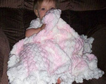 Hand Crocheted Baby Blanket in Pink and White