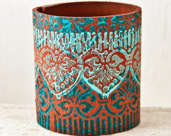 Turquoise Cuffs Bracelets - Leather Jewelry for Women - Wide Wristbands