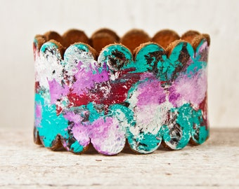 Leather Jewelry - Turquoise, Red, Purple, Blue, Green - Bracelets, Wristbands, Wrist Cuffs