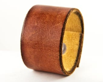 Brown Leather Cuff Bracelet Wristband - Handmade From a Vintage Belt - Distressed