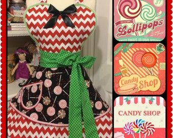 Lollipop candy shoppe girl apron handmade, kitchy, cute, woman's sweetheart full apron
