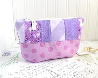 Purple Scrappy Unicorn Cosmetic Bag Makeup Bag Purple Patchwork Zipper Pouch Organizer Pink and Lavender