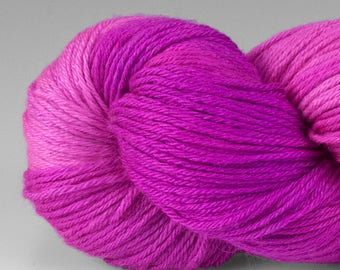 Handpainted Yarn, Merino Silk 50/50, Alight, Fingering Wt, 100 g, Wild Rose