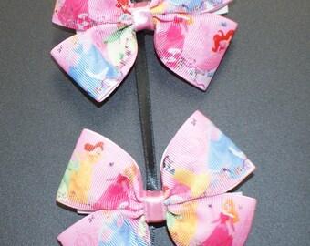 Princess theme ribbon hair bow (set of 2)