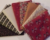 NEW Liberty Hill Quilt Fabric 100% Cotton Americana 8 Coordinating Fat Quarters  Red Bundle