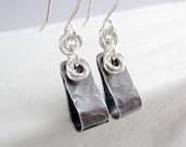 Sterling Silver Teardroop Earrings, Industrial Earrings, Silver Dangle Earrings, Sterling Silver Jewelry, Silver Hoop Earrings, Cool Jewelry