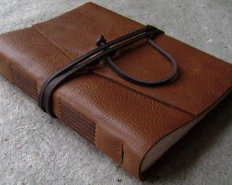 "Handmade leather journal, 5.5""x 7.5"",  rustic medium brown, old world journal, vintage style diary, sketchbook,  (2516)"