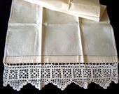 Towel Kitchen Bath Washstand Bar Display Cloth NEW Cotton Wide Crocheted Lace  VINTAGE UNUSED