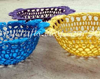 Crochet doily candy bowl, crochet basket, Mardi Gras gift, gifts for teacher, purple, yellow or turquoise to choose from too