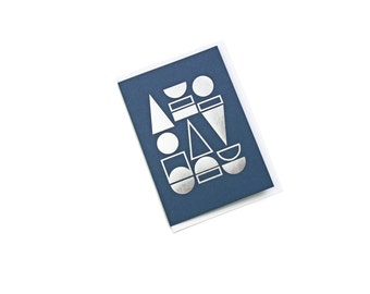FOIL PRINTED CARD - Silver on Navy