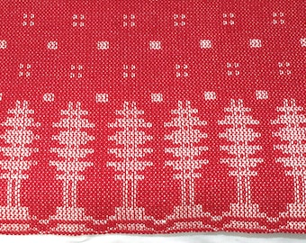 Handwoven Christmas Table Runner Red and White Holiday Mat Dresser Scarf
