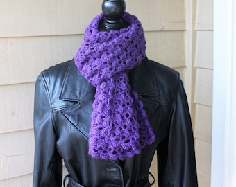 Women's Crochet Lace Scarf (Purple)