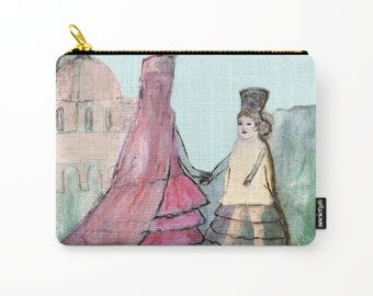 Cosmetic bag, toiletry storage, makeup bag, beauty Pouch, pencil bag, andalusian girls, spanish art, anagonzalezart
