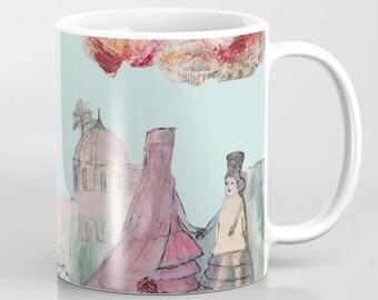 Mug Art, coffee mugs ceramic. Home drinkware Art, Art breakfast mugs, turquoise pink, buildings girls mugs