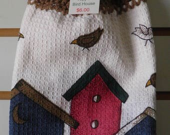 Crocheted Bird Houses Kitchen Towel