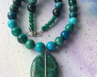 FREE SHIPPING Large Green Stone Crysocolla Pendant Agate Necklace