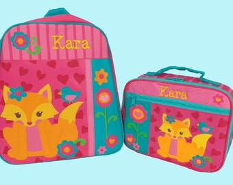 Child's Personalized Stephen Joseph GoGo FOX Themed Backpack and Lunchbox School Set-Monogramming Included In Price