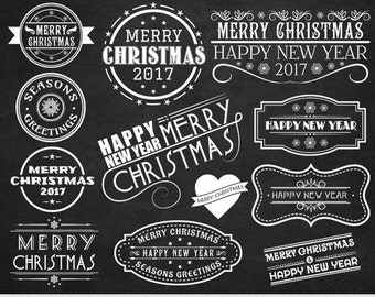 Merry Christmas Clipart Christmas Labels Clipart Chalkboard Christmas Invitations Clipart Christmas Frames Christmas Overlays Scrapbooking