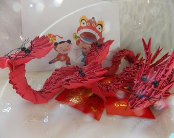 Origami Dragon~Chinese New Year Red Origami Dragon~Red Dragon~Chinese Dragon