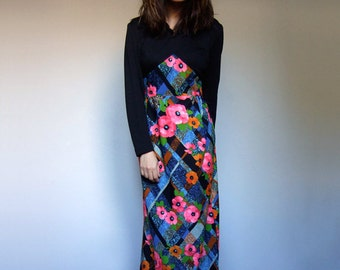 70s Maxi Dress Vintage Boho Dress Hippie Dress Floral Maxi 1970s Long Sleeve Maxi Dress - Large L