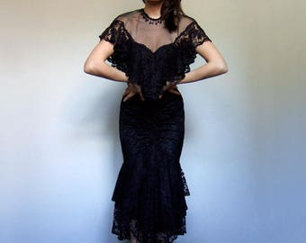80s Prom Dress Black Ruched Dress Vintage 80s Clothing 80s Dress Maxi Dress - Extra Small XS