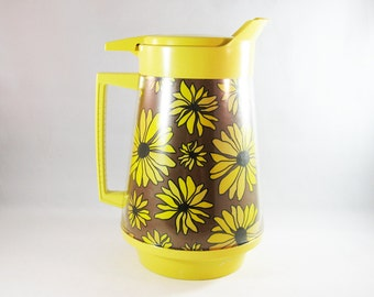 Vintage Floral Insulated Pitcher, West Bend Thermo-Serve Carafe