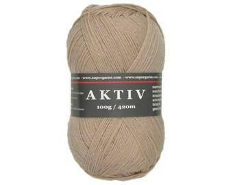 Supergarne Sock Yarn Aktiv superwash 4-ply Uni Solid 100g/459yd #2510 camel brown
