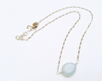 Aquamarine Teardrop & Silver Chain Necklace