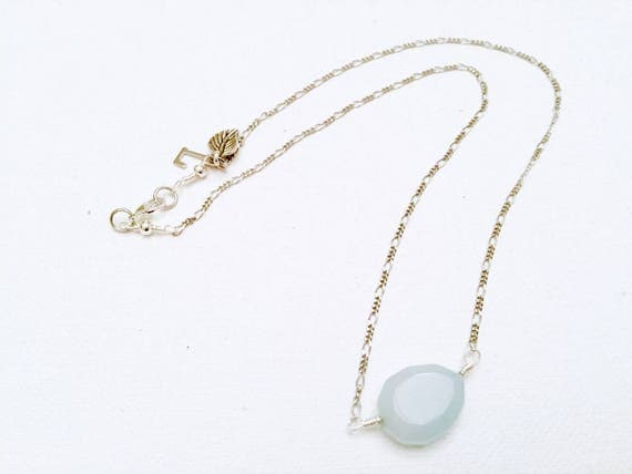 Aquamarine Teardrop & Silver Chain Necklace