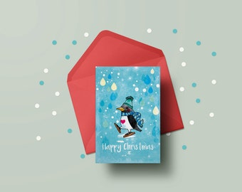 Set of 5 Christmas Cards with Red Envelopes & Free Shipping! - Animals - penguins - Arctic