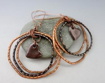 """Heart in Circles Copper Earrings, 3"""" Long Triple Hoops, Kidney Ear Wires, Handcrafted Earrings, Ready to Ship"""