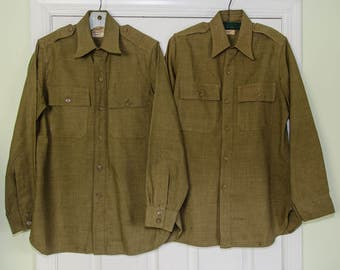 Two 1930's Men's Military Green Wool Work Shirts