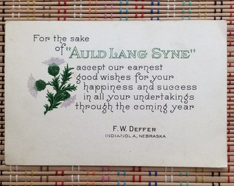 Vintage Letter Press New Year's Card:  For Auld Lang Syne, Beautiful Thistle Illustration and Verse