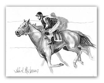 Original Fun Horse Racing Artwork Graphite Drawing on Paper ART LLMartin Kentucky Derby Thoroughbred Jocky