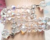 Vintage Crystal Bead BRACELET Aurora Borealis Glass Beads 1950s Sparkle Wedding Cocktail Party