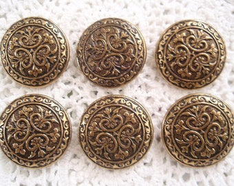 Vintage 6 Gold Metal Buttons Regal Looking Bohemian Gypsy Button Set  Medieval Charm