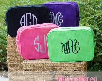 Personalized Bridal Party Makeup Bag | Bridesmaids Gift | Waffle Weave Cosmetic Bag | Double Compartment