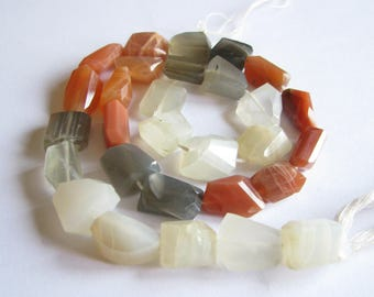 Multi colored Moonstone faceted nuggets, laser cut gemstones, peach moonstone, gray moonstone, 14.5 inch strand, 11-14mm (w200)