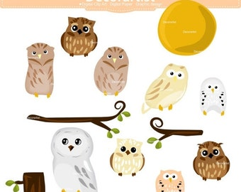 ON SALE Owl clip art, owls on the branch , cute owl,woodland owl clip art, printable, scrapbooking, instant download